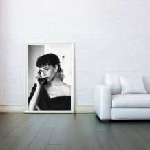 Audrey Hepburn On Phone Celebrity Icon - Decorative Arts, Prints & Posters,Wall Art Print, Poster Any Size - Black and White Poster
